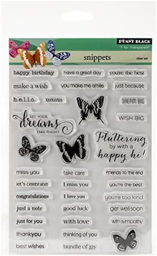 Penny Super sale Black Rubber specialty shop Clear Stamps 5-inch Sheet-Snippets 6.5-inch x