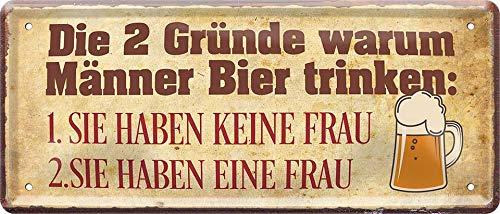 Cartel de chapa con texto en alemán 'Die 2 Gründe Warum Männer Bier Trinken', cartel decorativo para bar o pub idea de regalo, 28 x 12 cm