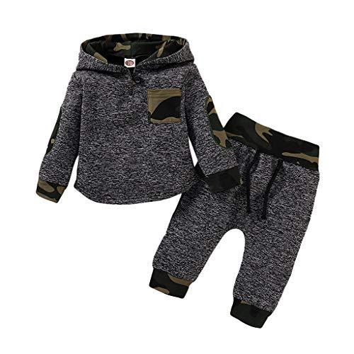 Kobay- Jungen Säugling Baby Mädchen Kleid mit Kapuze Pullover Spielanzug Bodysuit Hosen Ausstattungs langärmlige Overall Kleinkind Oberseiten stellten Hoodie Sweatshirt EIN (80,6-12 Monate, 8#)
