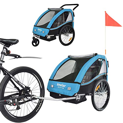 TIGGO World Convertible Jogger Remorque à Vélo 2 en 1, pour Enfants BT502-D03 Bleu