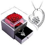 Infinity Rosen-SWEETIME Rote Rosen Geschenkbox mit 925er Sterling Silber Damen Halskette,Für Immer Rose mitkette Damen Silber 925,Rose Box für Sie am Valentinstag,Weihnachten,Hochzeitstag,Geburtstag.
