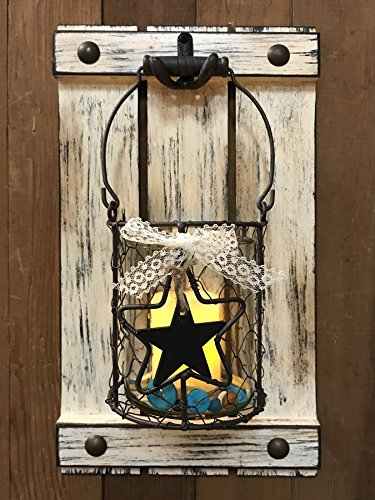 Jar Wall Decor CANDLE HOLDER Metal Chicken Wire Jar Shutter with Buttons Country Farmhouse Decor *Distressed Rustic White - LED Battery Operated Light *9X16