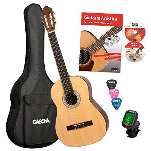CASCHA HH 2043 ES Konzertgitarre 4/4 Bundle, Fichtendecke, inkl. italienischer Gitarrenschule mit CD + DVD, Stimmgerät, gepolsterte Tasche mit Notenfach und Rucksackgarnitur, 3 Plektren, Natur Matt