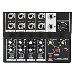 Professional Audio Mixer, Portable 8‑Channel Input Stereo Audio Mixer Sound Board Console Microphone Amplifier Console for Studio, Podcasting