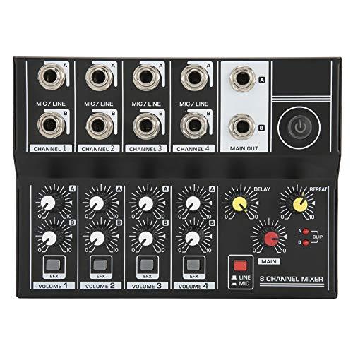Mezclador de audio, tarjeta de sonido con efectos de sonido Q48 de 8 canales, consola de audio estéreo portátil, adecuada para estudios, podcasts o actuaciones en vivo