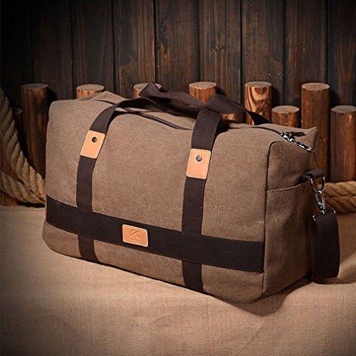 YanRun Reisetasche Canvas Wochenende Tasche Handgepäck Sporttaschen Duffle Bag (5 Color) (Braun)