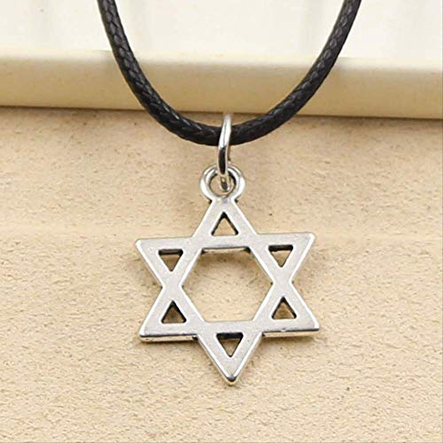 xtszlfj Estrella de David Escudo Hexagram Colgante Collar Gargantilla Encanto Negro Cuero cordón