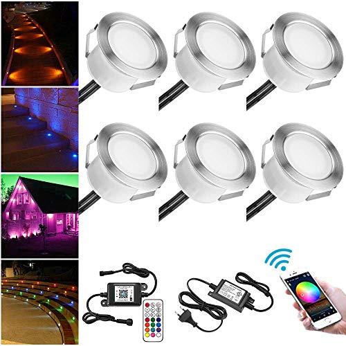 6 Luces Empotradas de Suelo SUBOSI LED Funciona con Alexa, Google Home, Teléfono Inteligente Inalámbrico WiFi Ø45mm IP67 Downlights LED Impermeables