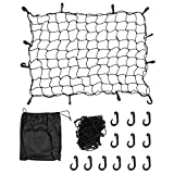 "Magiin Super Duty Cargo Net for Trailer Pickup Truck Bed Net with 12 Clip Carabiners 35""x 47""(stretch to 70"" x 94"") Black"