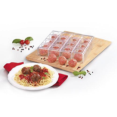 GOURMETmaxx Küchenhelfer Hackbällchen-Fleischball Fleischklößchen-Former Köttbullar-Maker (auch für Suppenklößchen), BPA Freies PP, Durchsichtig, 22.5 x 22.5 x 4.5 cm