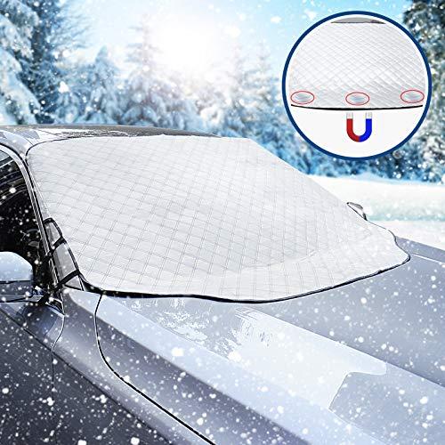 WIN.MAX Protector de Parabrisas,Parasol Coche Delantero,Parasol Magnético para Parabrisas de Coche,Nieve Cubiertas,Protege de Rayos Antihielo y Nieve,UV,Lluvia,Funda Plegable Parabrisa Delantero