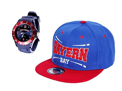 Alsino Bayern Fußball Fans Set - Silikon Armbanduhr mit Snapback - One Size Größe für Erwachsene