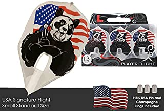 L-Style USA Signature Champagne Dart Flights with 3 Clear Black Champagne Rings & USA Pin