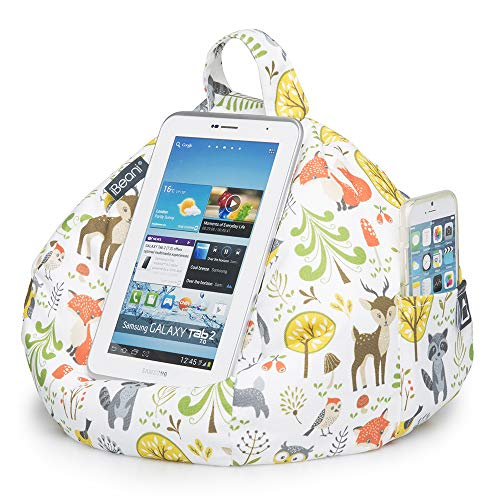 iBeani iPad, Tablet & eReader Bean Bag Stand/Cushion - Tablet Holder for All Devices - Comfort & Stability at Any Viewing Angle - Helps Avoid RSI - Woodland Fox