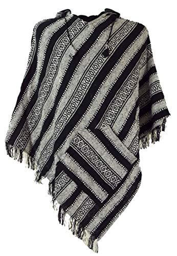 Guru-Shop Poncho Hippie Chic, Andenponcho mit Fransen, Herren/Damen, Schwarz, Baumwolle, Size:One Size, Jacken, Strickjacken, Ponchos Alternative Bekleidung