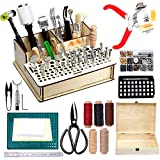 447 Pieces Leather Working Tools and Supplies with Instruction, Leathercraft Tools Kit, Leathercraft Tools Holder, Leather Craft Stamping Tools, Stitching Hole Punch, Leather Working Saddle Making