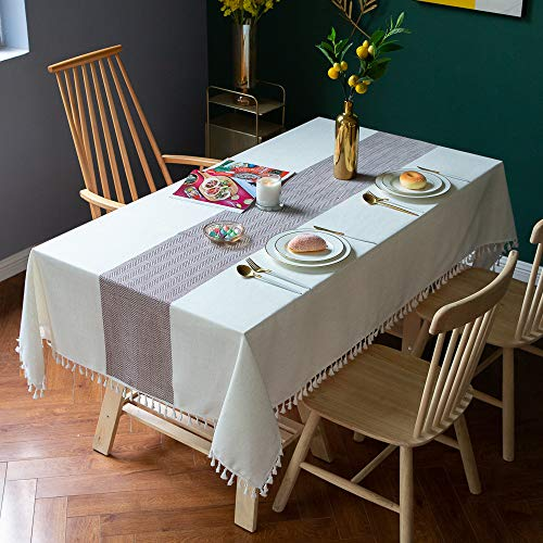 XIAOE Home Decoration Rectangular Linen Fabric Tablecloths Waterproof Tablecloths Wipeable Washable Table Cover For Dining Kitchen Party Table Covers Buffet Decoration 140 * 140cm