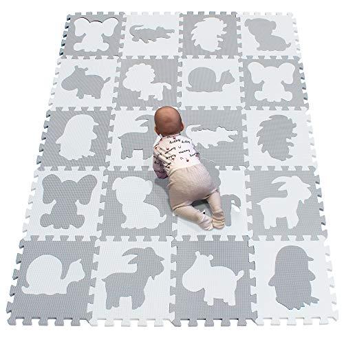 YIMINYUER Alfombra de protección de Suelo Puzzle/Alfombra de Actividades para bebé y niño, Goma EVA, Blanco Gris RP58G301020BH