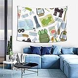 Tapiz de pared, equipo de viaje, accesorios, camping, deportes, recreación, actividad, fondo, tapiz para colgar en la pared, para dormitorio, sala de estar, dormitorio, decoración de pared, tapiz artí