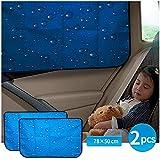 aokway Auto-Sonnenschutz, doppelte Dicke, Heckscheibe, Auto-Sonnenschutz, universelle Passform für Wohnmobil, LKW, UV-Schutz (blau-blickdicht, Rücksitz-2 Stück)
