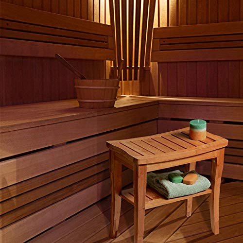 Badkamer/Sauna bankje met opbergruimte - Van bamboe hout - Stevige houten bankje voor in badkamer of sauna - Handig als badkamerkruk/badkamerstoel - Decopatent®