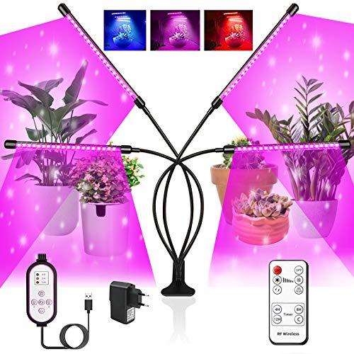 iPatio Lampada per Piante Regolabile a 360°,10 Livelli di Intensità RF ControllerFunzione 80LEDs Lampade da Coltivazione Indoor,LED Grow Light Full Spectrum