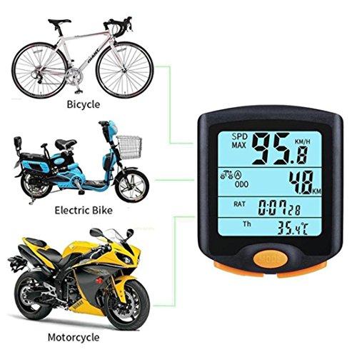 QHJ Fahrradcomputer kabellos | Fahrradtacho/Radcomputer/Tachometer Temperaturanzeige in °C |inkl. Befestigungsmaterial | Hintergrundbeleuchtung | IP65 (Schwarz) - 3
