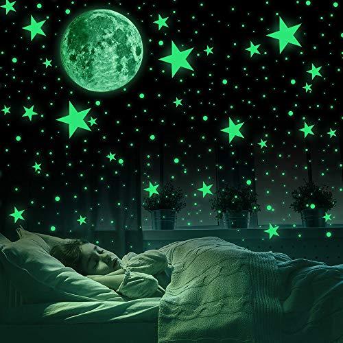Sporgo Leuchtsticker Wandtattoo wandsticker kinderzimmer selbstklebend 435 Stück Leuchtpunkte selbstklebend und 30cm Mond Wandsticker für Sternenhimmel-leuchtsterne und fluoreszierend Leuchtaufkleber
