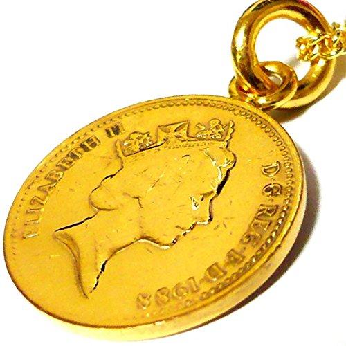 イギリス 1ペニーコイン 18金 18K コーティング コイン ネックレス チェーン ペンダント チェーン ゴールド アンティーク (50)