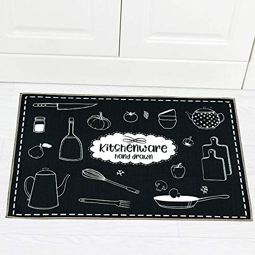 Carvapet 2 Piec Non-Slip Kitchen Rug TPR Non-Skid Backing Mat for Doorway Bathroom Runner Rug Set, Geometric Design (17