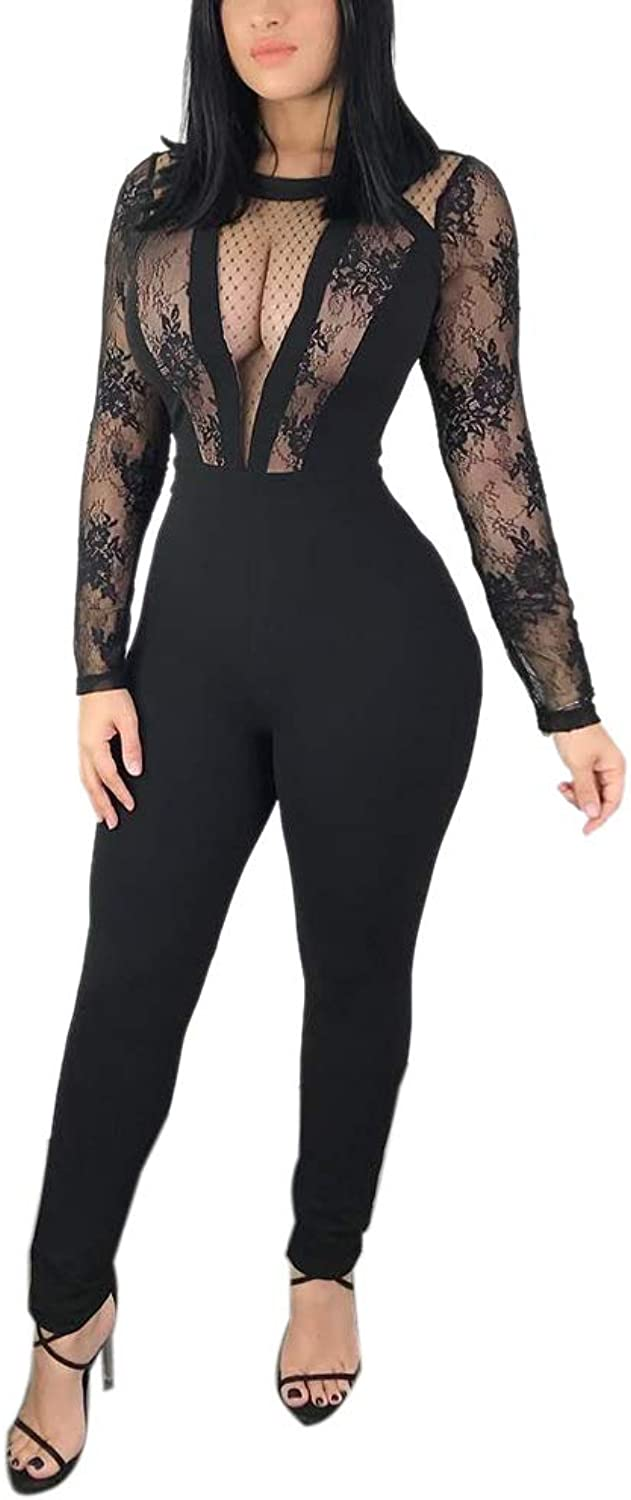 JiherBeauty Womens Sexy Lace Mesh See Through Long Sleeve Bodycon Romper Jumpsuits