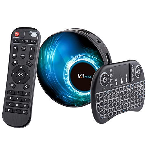 Android10.0 TV-Box [4G + 32G] mit Mini Tecladoinalámbirco RK3318 Quad-Core 64-Bit-Android-TV-Box, Wi-Fi-Dual 5G / 2,4G, BT 4.0, 4K * 2K UHD H.265, USB 3.0 Smart-TV-Box