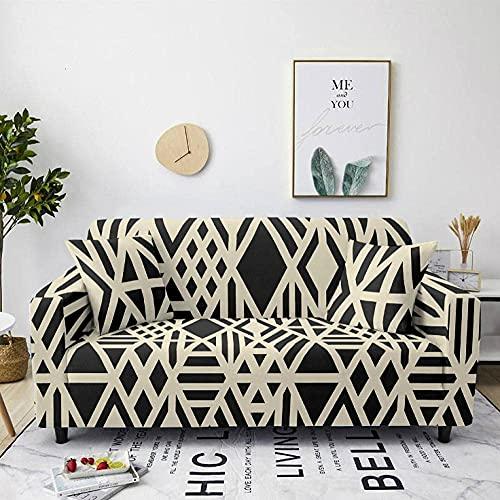 HMHMVM Funda de sofá elástica de rayas marrones para sofá y sillón, funda antideslizante para sofá, funda universal para sofá, 2 fundas de almohada