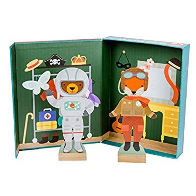 Petit Collage Magnetic Dress Up, Make-Believe Animal Costumes – Magnetic Game Board with Mix and Match Magnetic Pieces, Ideal for Ages 3+ – Includes 2 Dolls and 35 Creative Magnetic Pieces from Petit Collage