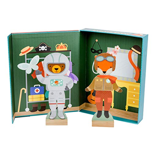 Wooden Dress-Up Dolls, Pretend Play, 2 Play Sets in One, 55+ Pieces, 3.175 cm H x 27.94 cm W x 35.56 cm L Melissa /& Doug Abby and Emma Magnetic Dress-Up Set