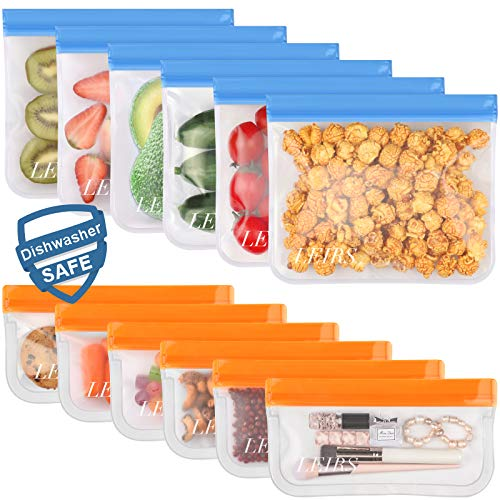 12 Pack Dishwasher Safe Reusable Food Storage Bags (6 Sandwich Lunch Bags & 6 Small Kids Snack Bags)...
