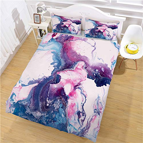 Omelas 3 Pieces Colorful Marble Duvet Cover Set Queen Size Women Girls Purple Pink Blue Marble Pattern Liquid Abstract Bedding Sets with 3D Printed Watercolor Reversible Comforter Covers