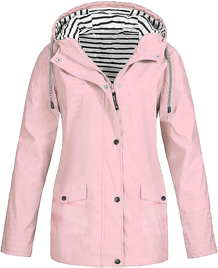 XXBR Womens Raincoat, Plus Size Rain Jackets Outdoor Active Waterproof Button Zip Hooded Windproof Lightweight Outerwear