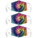 Supertong 3 Stück Staubdicht Mundschutz Mode Bunte Tie-Dye Farbverlauf Waschbar Wiederverwendbar Stoff Gesichtsschutz Outdoor Radfahren Einstellbar Face Shield (A)