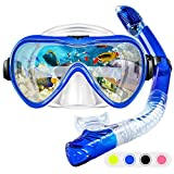 ZMteam Snorkel Set Snorkeling Gear Adults,Dry Top Diving Masks and Snorkel for Man Women, Easy-Breath Scuba Gear with Anti-Leak Anti-Fog Tempered Panoramic Glass for Diving, Swimming Blue