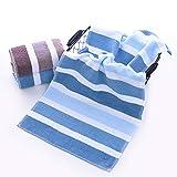 YALIXI Asciugamani, Asciugamano per Il Viso Adulto Quotidiano A Strisce di Cotone, Asciugamano per Il Viso Morbido E Assorbente, 2 Confezion,Blu,62 * 31cm