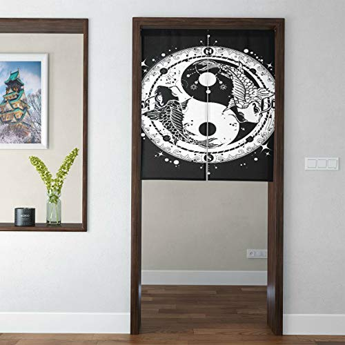Japanese Short Style Contemporary Kitchen Curtains Black and White Carp in Yin and Yang Symbol Tatto Curtains for Doors Door Tapestry for Home Decor
