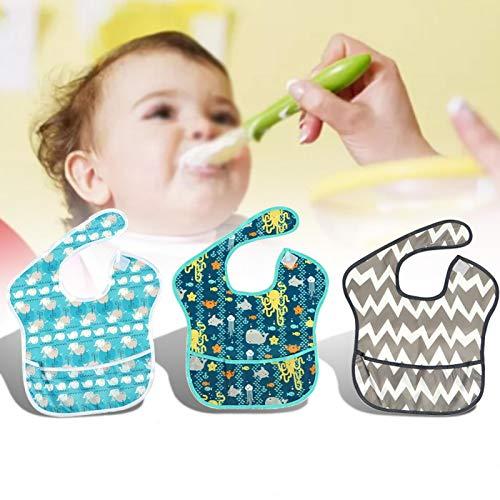 DAUERHAFT Baberos para bebés, 3 Piezas de Suministro para bebés con Lindo Estampado Personalizado,(3)