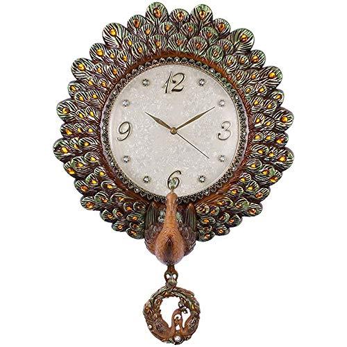 QZH Reloj de Pared Reloj de Pared Sala de Estar Reloj Creativo Europeo Reloj Decorativo de Pavo Real Reloj de Cuarzo silencioso Reloj de Pared oscilante Pastoral (Color: Verde), Adecuado para la Sal
