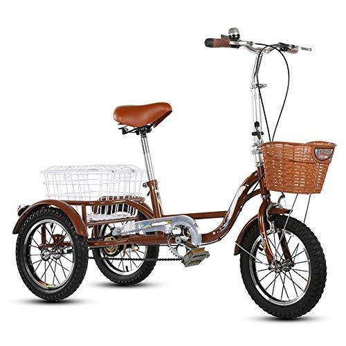 ZNND Bicicletas reclinadas Triciclo Adulto Bicicleta Sola Velocidad 14 Pulgadas Tres Ruedas Bicicletas Crucero Triña con Canasta Grande para Hombres Mujeres Mayores Juventud Altura Ajustable