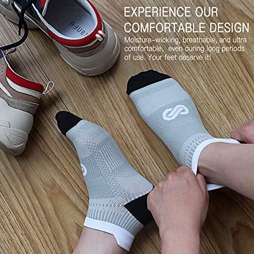 Calcetines de compresión tobilleros PAPLUS para hombre y mujeres, pack de 2, 4, 6 pares, calcetines de compresión taloneros para correr, con sujeción en el tobillo, L-x-L