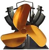 13 cm, ventilador de estufa funciona con altura de calor para pequeños/leña madera de espacio de respetuoso con el medio ambiente- dorado
