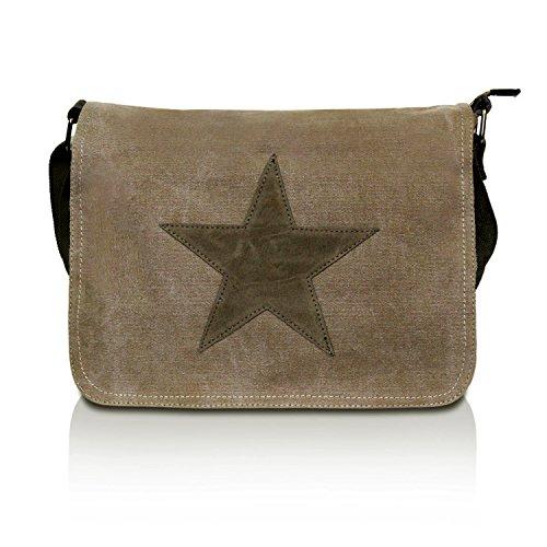 Glamexx24 Tasche Handtaschen Schultertasche Umhängetasche mit Stern Muster Tragetasche TE201620, Braun,