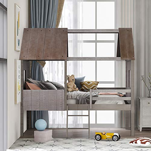 Merax Wooden Twin Bed Frames for Toddlers Kids Bed Frame Twin Size House Bed Low Loft Bed Frame for Boys and Girls Playhouse Design,with Full-Length Safety Rails, Twin Size, Antique Grey