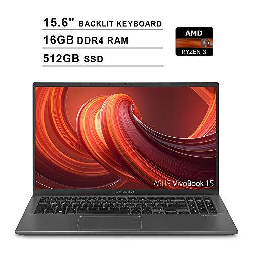 2020 ASUS VivoBook 15 15.6 Inch FHD 1080P Laptop (AMD Ryzen 3 3200U up to 3.5GHz, 16GB DDR4 RAM, 512GB SSD, AMD Radeon Vega 3, Backlit Keyboard, FP Reader, WiFi, Bluetooth, HDMI, Windows 10) (Grey)